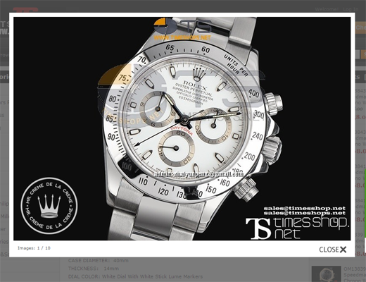 White Rolex Daytona Replica Example
