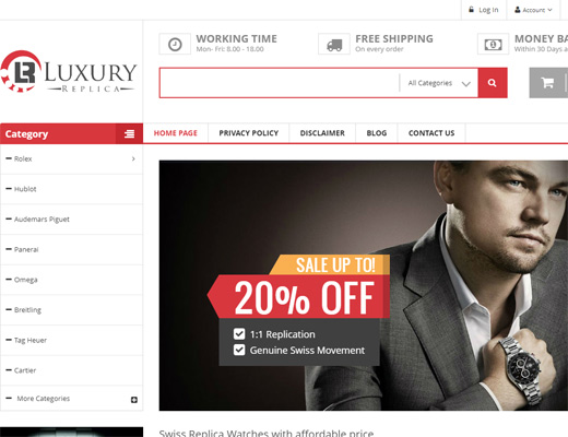 Luxuryreplica.ee homepage print screen