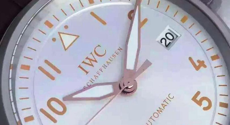 dial and date window of IWC Pilot Watch Replica