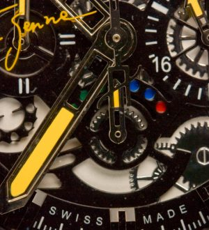 intricate dial of hublot ayrton senna watch