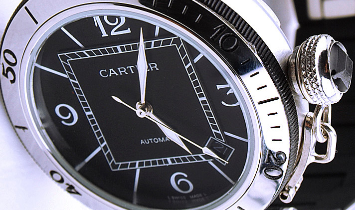 Black Cartier Pasha Wristwatch Dial