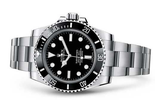 genuine black rolex submariner on white background