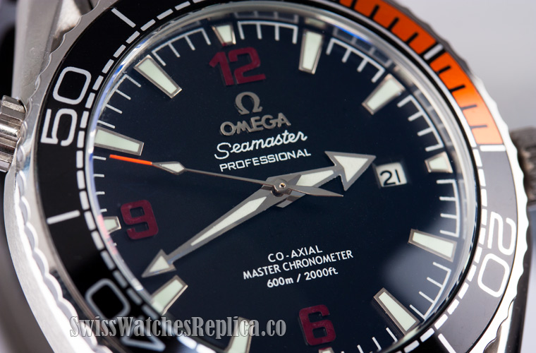 43.5mm Omega seamaster replica watch black dial
