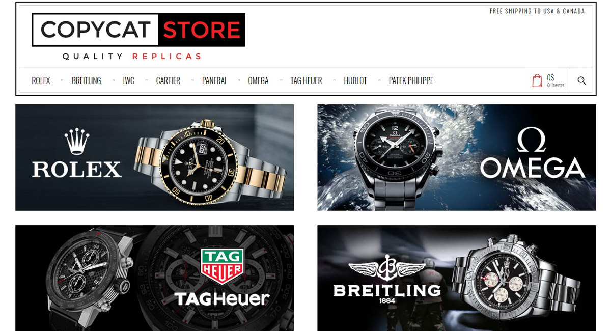 picture of copycatstore site with banners